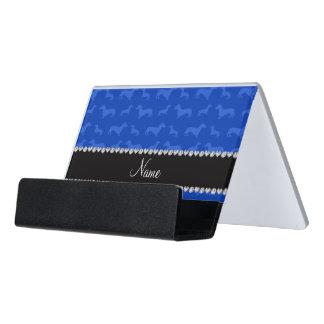 名前をカスタムするの青いダックスフントの黒のハートのストライブ柄 デスク名刺ホルダー
