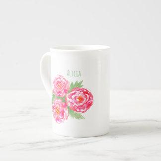 名前をカスタムするの骨灰磁器のマグのバラの水彩画 ボーンチャイナカップ