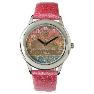 名前をカスタムするのsteampunkの明るい虹のグリッター 腕時計