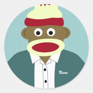 名前をカスタムするまたはモノグラムのソックス猿の男の子 ラウンドシール
