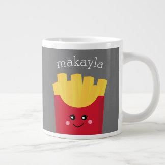 名前をカスタムするを用いるかわいいかわいいのフライドポテト ジャンボコーヒーマグカップ