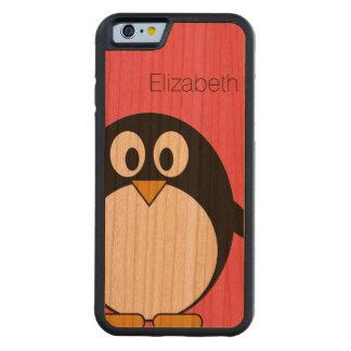 名前をカスタムするを用いるかわいい漫画のペンギンの絵 CarvedチェリーiPhone 6バンパーケース