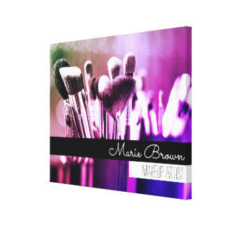 名前をカスタムするを用いるカラフルな化粧のブラシ キャンバスプリント