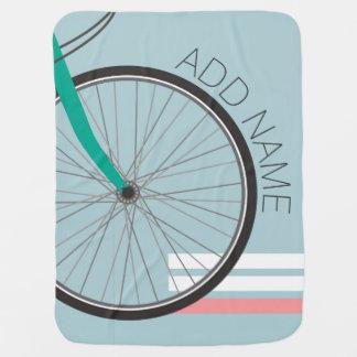 名前をカスタムするを用いるヒップスターの自転車の車輪 ベビー ブランケット