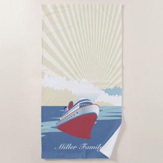 名前をカスタムするを用いるヴィンテージの遊航船 ビーチタオル