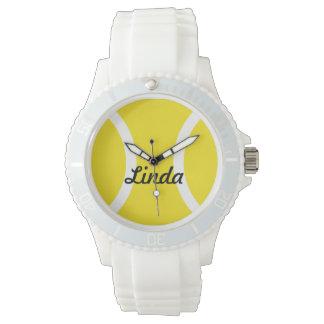 名前をカスタムするを用いる名前入りなテニス・ボールの腕時計 腕時計