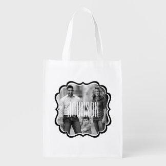 名前をカスタムするを用いる家族写真の再使用可能な買い物袋 エコバッグ