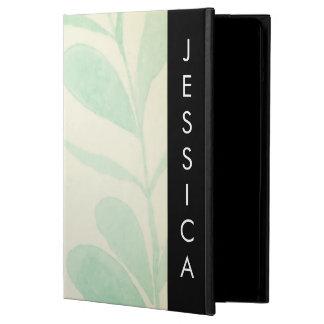 名前をカスタムするを用いる柔らかい水彩画の葉 iPad AIRケース