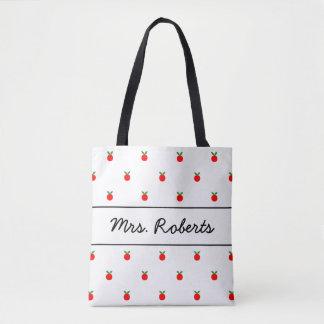名前をカスタムするを用いる赤いりんごの学校教師のトートバック トートバッグ