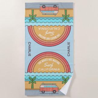 名前をカスタムする及び位置のサーファーのビーチタオル ビーチタオル