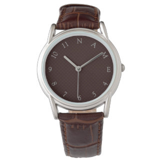 名前をカスタムする名前入りなメンズブラウンの腕時計 腕時計