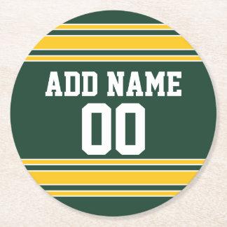 名前をカスタムする数を用いるフットボールジャージー ラウンドペーパーコースター