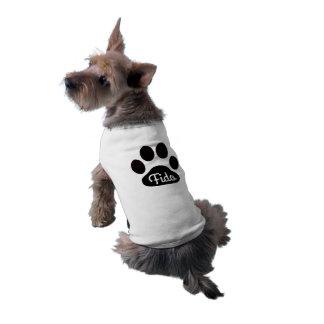 名前をカスタムする白黒犬の足 ペット服
