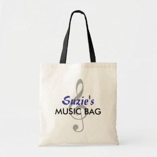 名前をカスタムする音楽バッグ-青 トートバッグ