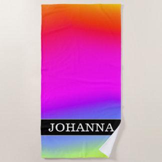 名前をカスタムする; おもしろいの多彩の虹そっくりのパターン ビーチタオル