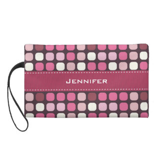 名前をカスタムする を用いるガーリーなピンクのポルカの正方形の点 リストレット