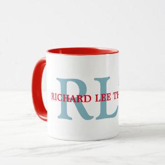 名前をカスタムする + イニシャルの名前入りなモノグラムの赤 マグカップ