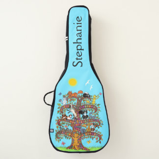 名前をカスタムするMillefiori猫の生命の樹 ギターケース