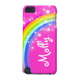 名前を挙げられた子供虹ピンクの女の子のiPodの箱 iPod Touch 5G ケース