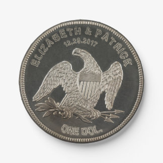 名前を挙げられたSilver 1865ドル結婚式か記念日 ペーパープレート
