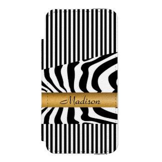 名前を挙げられたZebraは縞で飾り、 Incipio Watson™ iPhone 5 ウォレット ケース