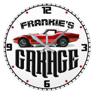 名前入りあなたの一流のChevyコルベット車のガレージ ラージ壁時計