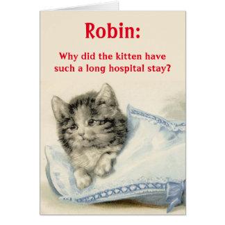 名前入りかわいい猫の冗談を用いる健康なカードを得て下さい カード