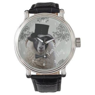 名前入りでおもしろいなヒツジのキャラクター 腕時計