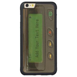 名前入りでおもしろいな90s古い学校のポケベル CarvedメープルiPhone 6 plusバンパーケース