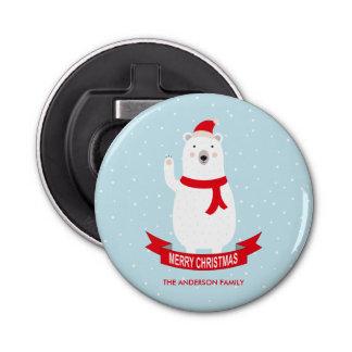 名前入りでかわいいクリスマスの白くま 栓抜き