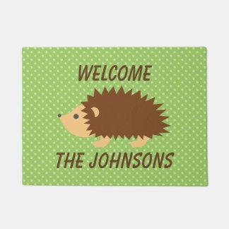 名前入りでかわいいハリネズミの歓迎のドア・マット ドアマット