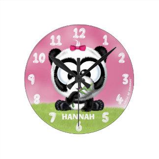 名前入りでかわいいパンダくまの時計 ラウンド壁時計
