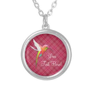 名前入りでかわいいピンクのハチドリのネックレス シルバープレートネックレス