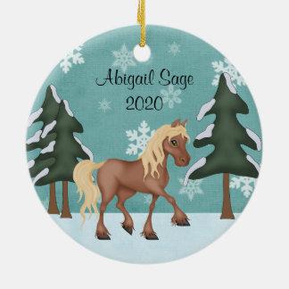 名前入りでかわいいブラウンの馬のクリスマス セラミックオーナメント