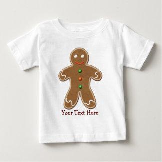 名前入りでかわいい休日のジンジャーブレッドマン ベビーTシャツ