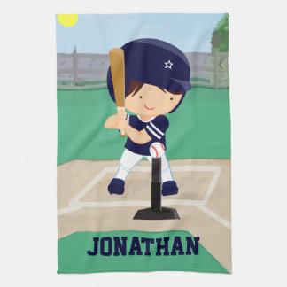 名前入りでかわいい野球の漫画プレーヤー キッチンタオル
