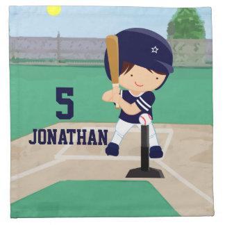名前入りでかわいい野球の漫画プレーヤー ナプキンクロス