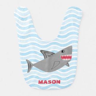 名前入りでかわいい鮫の青の波 ベビービブ