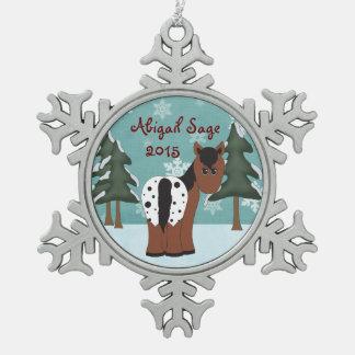 名前入りでかわいいAppaloosaの馬のオーナメント スノーフレークピューターオーナメント