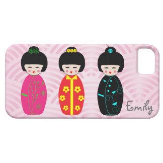 名前入りでかわいいKokeshiの人形の電話箱 iPhone SE/5/5s ケース