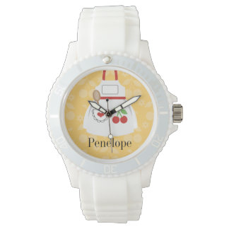 名前入りでかわいく黄色い台所エプロン 腕時計