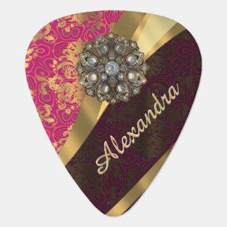 名前入りでかわいらしいピンクのダマスク織パターン ギターピック