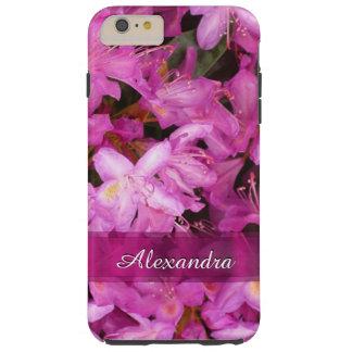 名前入りでかわいらしいピンクの花の写真 シェル iPhone 6 ケース