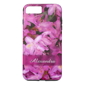 名前入りでかわいらしいピンクの花の写真 iPhone 7 PLUSケース