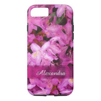 名前入りでかわいらしいピンクの花の写真 iPhone 8/7ケース