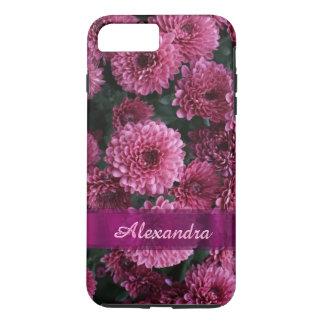 名前入りでかわいらしいピンクの菊の花 iPhone 8 PLUS/7 PLUSケース