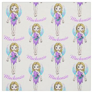 名前入りでかわいらしい紫色の妖精 ファブリック