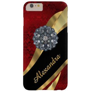 名前入りでかわいらしくエレガントで赤いダマスク織パターン BARELY THERE iPhone 6 PLUS ケース