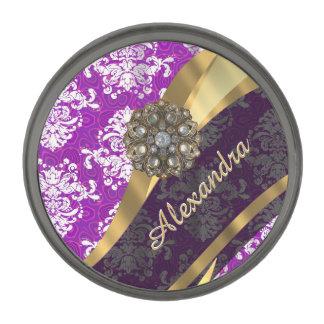 名前入りでかわいらしくガーリーな紫色のダマスク織パターン ガンメタル ラペルピン