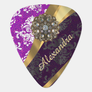 名前入りでかわいらしくガーリーな紫色のダマスク織パターン ギターピック
